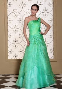 Turquoise One Shoulder Prom Dress Hand Made Flowers Organza
