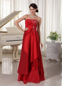 Wine Red Prom / Evening Dress With Embroidery Floor-length