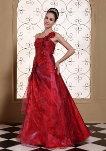 Wine Red One Shoulder Prom Dress Hand Made Flowers in Organza