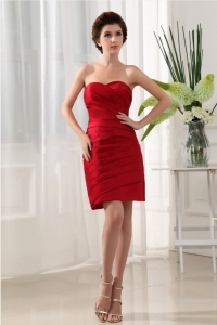 Wine Red Ruched Over Skirt and Mini-length For Prom Dress