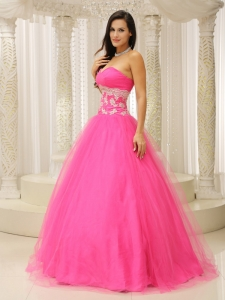 A-line Prom Dress With Sweetheart and Appliques Decorate Tulle