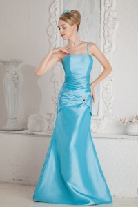 Aqua Blue Straps Floor-length Satin Beading and Ruch prom Dress