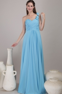 One Shoulder Floor-length Chiffon Ruched Bridesmaid Dress