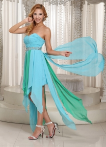 Sweetheart Beaded Decorate Waist Prom Dress in Aque Blue