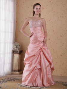Baby Pink Sweetheart Taffeta Beading Ruch Prom / Celebrity Dress