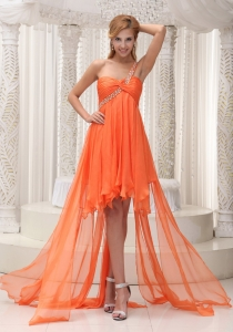 One Shoulder Ruched Orange High-low Prom / Homecoming Dress