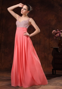 Beaded Decorate Ruched Watermelon Red Prom / Evening Dress