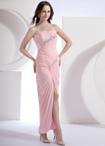 Beading Column Chiffon Beading Ankle-length Prom Dress Pink