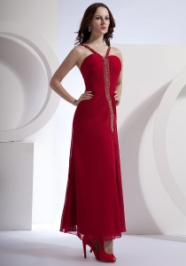 Beading Decorate Bodice High Slit Wine Red Prom Dress