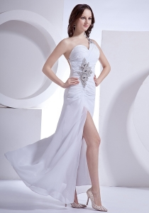Beading Decorate One Shoulder and Wasit High Slit Prom Dress