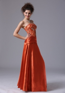 Beading Strapless Taffeta Floor-length Rust Red Prom Dress