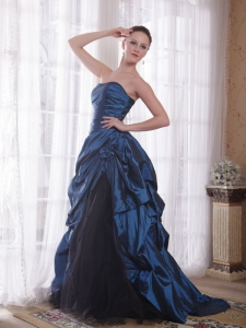 A-Line / Princess Train Taffeta Hand Made Flowers Prom Dress