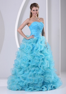 Prom Dress with Beaded Decorate Up Bodice and Organza Ruffles