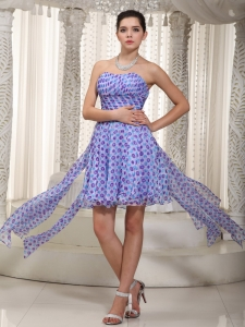 High-low Print Ruched Sweetheart Prom / Cocktail Dress