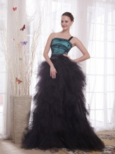 Black and Teal One Shoulder Tulle Ruch Prom / Celebrity Dress