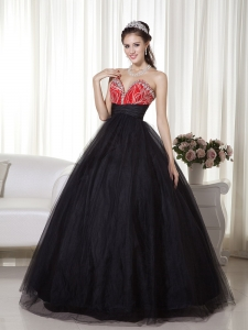Black and Red Sweetheart Tulle and Taffeta Beading Prom Dress