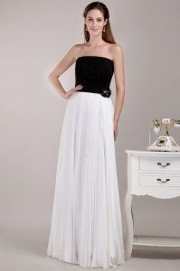 Black and White Strapless Chiffon Ruffles Prom Dress