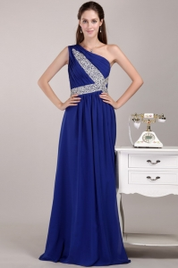 Blue One Shoulder Chiffon Sequins Prom / Evening Dress