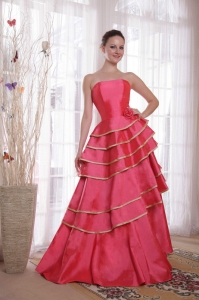 A-line / Princess Strapless Ruffles Coral Red Prom Dress