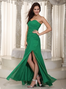 Dark Green Empire Sweetheart Chiffon Ruch Prom Dress