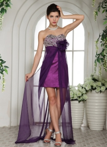 Eggplant Purple Sweetheart Beaded Decorate Prom Dress