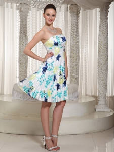 Elegant Prom Dress With Printing Strapless Neckline Knee-Length