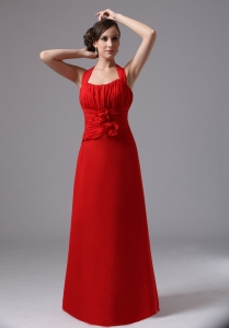 Halter and Ruched Bodice Red Prom Dress With Hand Made Flowers