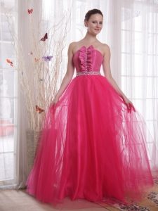 Strapless Floor-length Tulle Beading Hot Pink Prom Dress