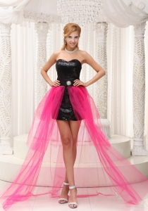 Hot Pink High-low Prom Dress For Paillette Over Skirt Beading