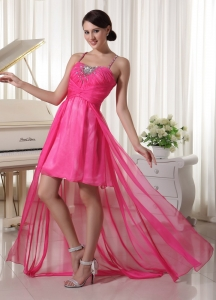 Hot Pink Prom / Homecoming Dress with Spaghetti Straps Beaded