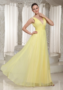 Light Yellow V-neck Chiffon Long Prom Dress 2013 Party Style