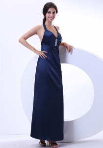 Modest Halter Navy Blue Ankle-length Beading 2013 Prom Dress