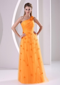 Hand Made Flowers One Shoulder 2013 Prom / Evening Dress Tulle