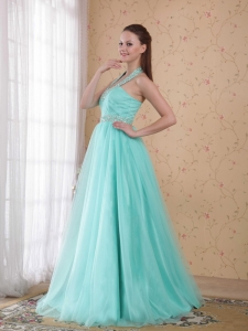 Popular Empire Halter Floor-length Tulle Beading Prom Dress