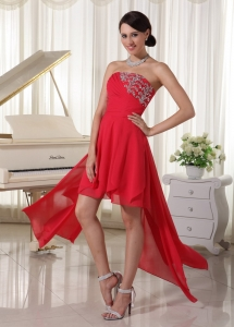 Red Chiffon High-low Homcoming / Cocktail Dress With Beading