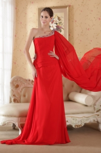 One Shoulder Watteau Train Red Beading and Sequin Prom Dress