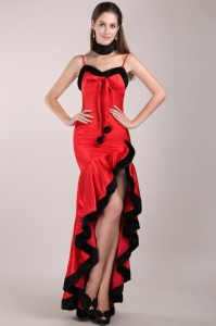 High-low Red and Black Prom Dress with Straps and Beading