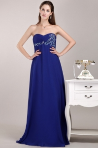Royal Blue Floor-length Chiffon Beading Prom / Evening Dress