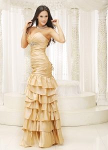 Ruffled Layers Sweetheart Remarkable Prom Dress with Beading
