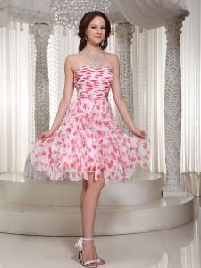 Strapless Beading Ruch Knee-length Printing Prom Dress