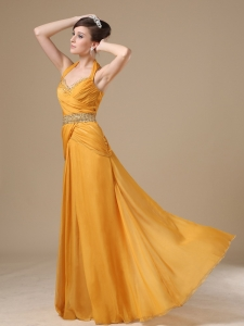 Beaded Decorate Gold Chiffon 2013 Prom / Evening Dress