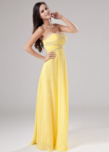Sweetheart Chiffon Beading Prom Dress Empire Yellow