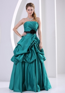 Turquoise Hand Made Flower Ruch Prom / Evening Dress Pick-ups