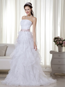 Elegant Stapless Floor-length Organza Beading Prom Dress