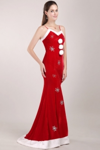 Red and White Mermaid Prom Dress with Straps and Beading
