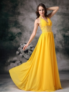 Halter Brush Train Chiffon Beading Yellow Prom / Evening Dress