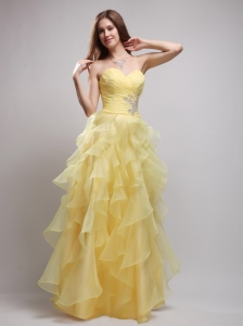 Yellow Sweetheart Ruffles and Appliques Prom / Evening Dress