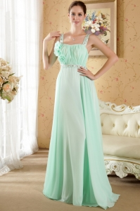 Apple Green Prom / Evening Dress with Straps Brush Train Beading