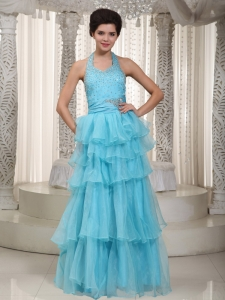 Organza Beading Prom / Evening Dress Aqua Blue Halter