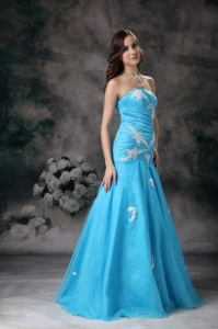 Mermaid Strapless Prom / Evening Dress Aqua Blue Appliques